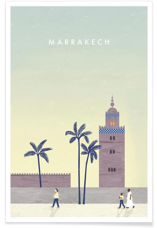 Reizen, Vintage reis, Marrakesh - retro poster