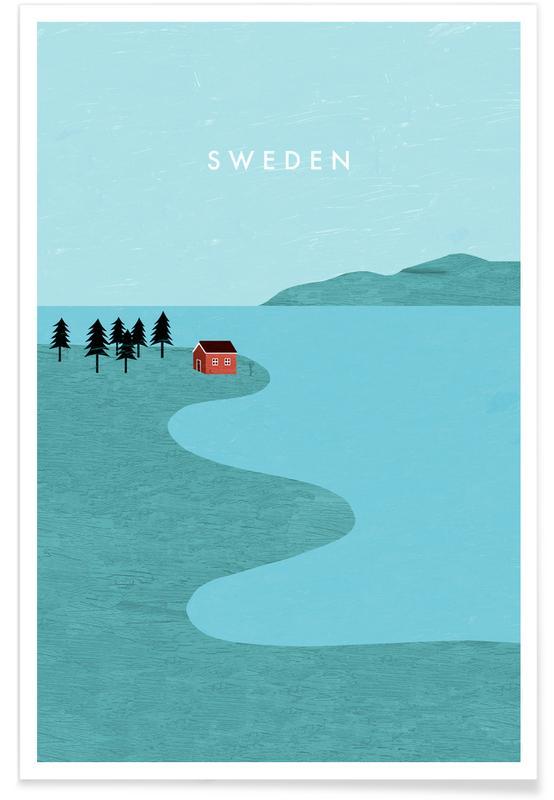 Voyages, Vintage voyage, Suède - Rétro affiche