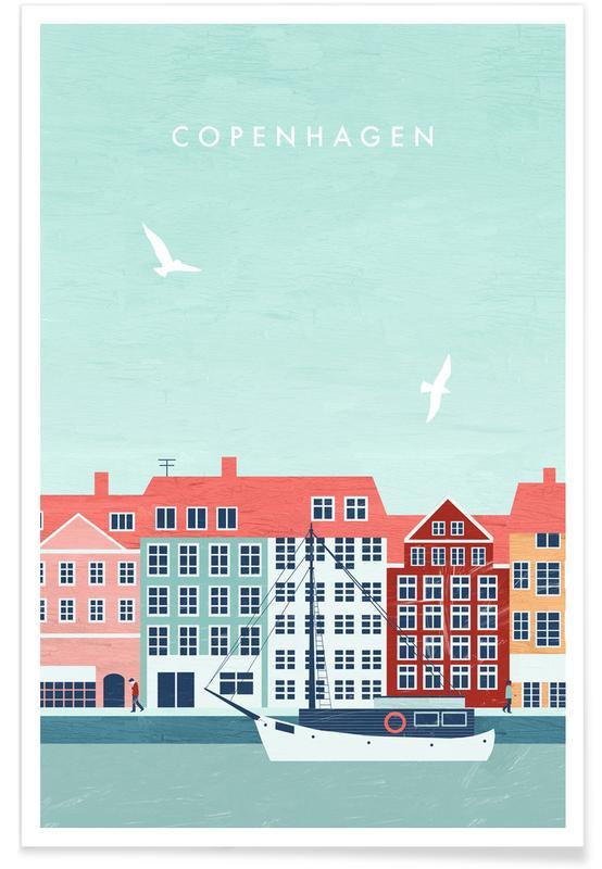 Voyages, Vintage voyage, Copenhague - Rétro affiche