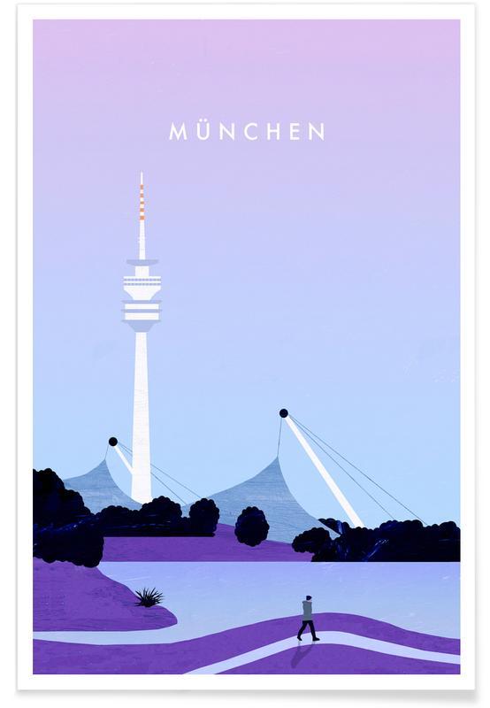 Vintage reis, Reizen, München - retro poster