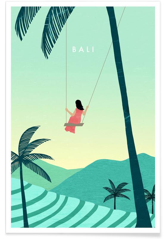 Reizen, Vintage reis, Bali - retro poster