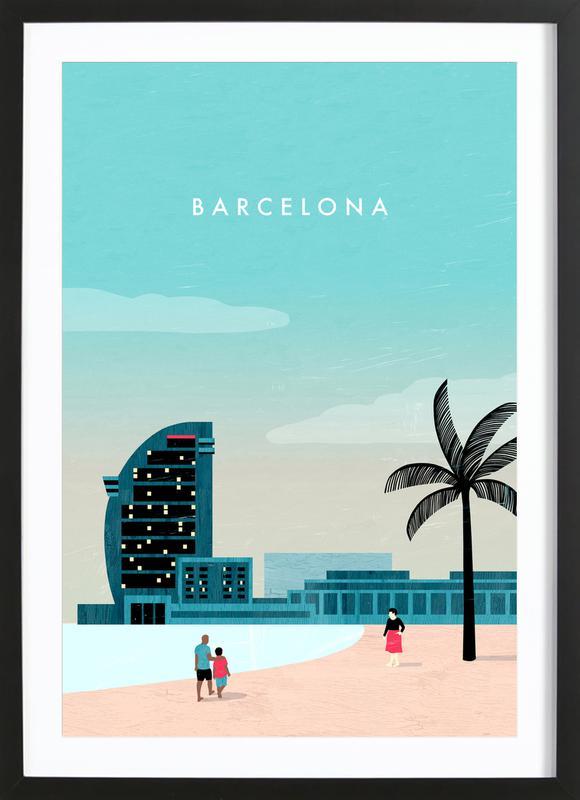 Barcelona -Bild mit Holzrahmen