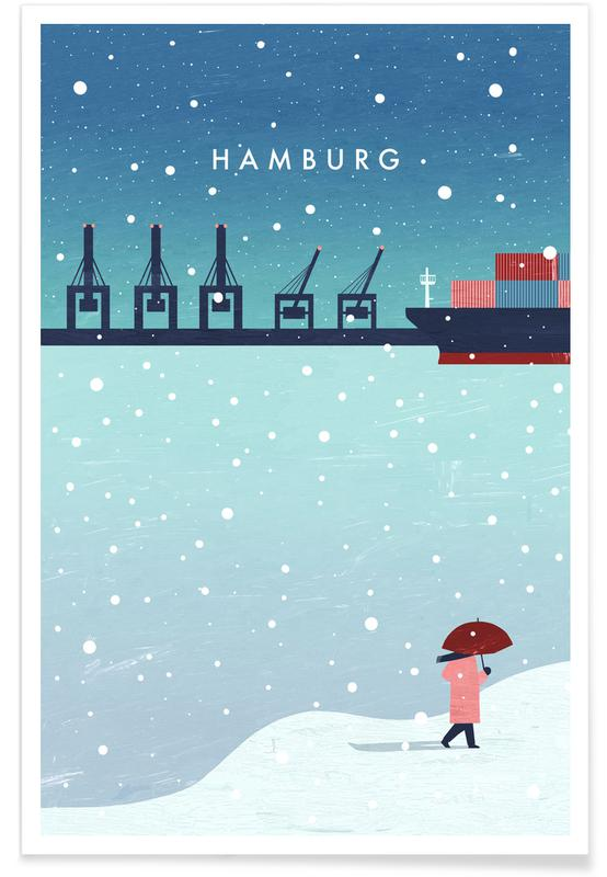 Retro Hamburg in Winter Poster