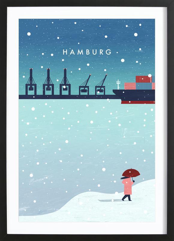 Hamburg Im Winter -Bild mit Holzrahmen