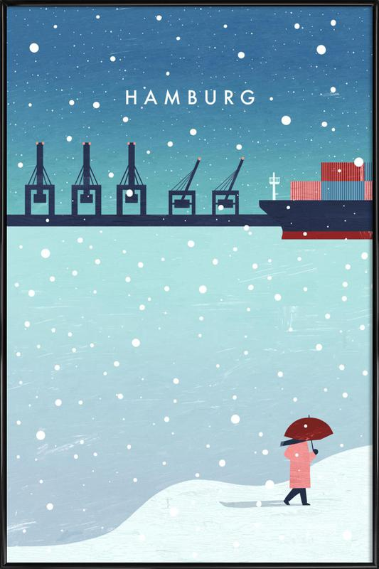 Hamburg Im Winter ingelijste poster