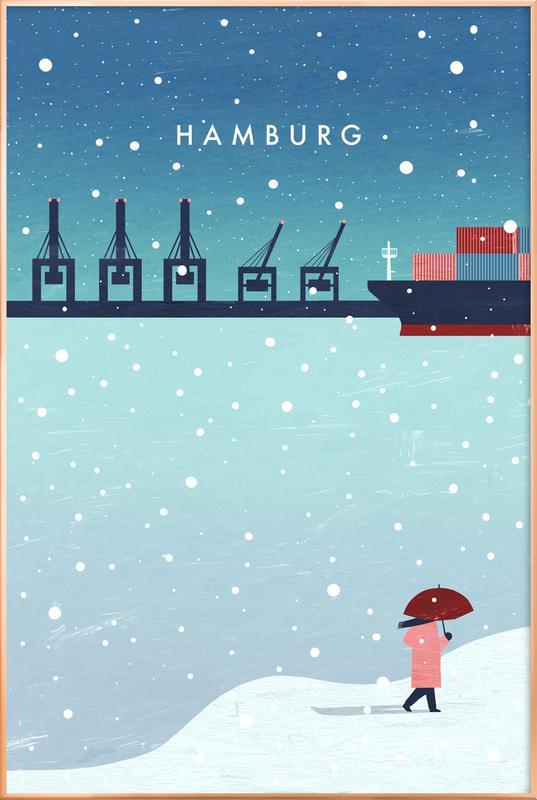 Hamburg Im Winter -Poster im Alurahmen