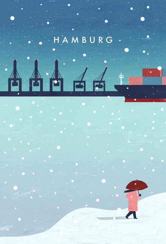 Hamburg Im Winter alu dibond