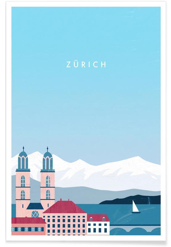 Rejser, Vintage rejser, Retro Zürich Plakat
