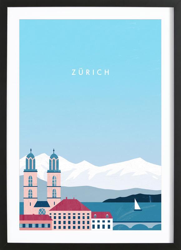 Zürich affiche sous cadre en bois