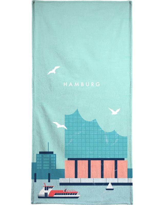 Travel, Vintage Travel, Hamburg Elbphilharmonie Bath Towel