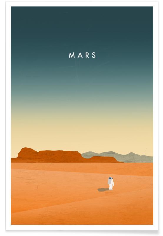 Vintage reis, Mars - retro poster