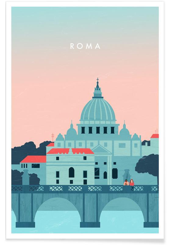 Reise, Vintage Reise, Retro-Rom -Poster