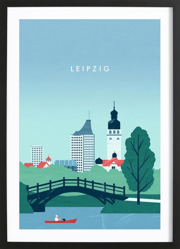 Leipzig affiche sous cadre en bois