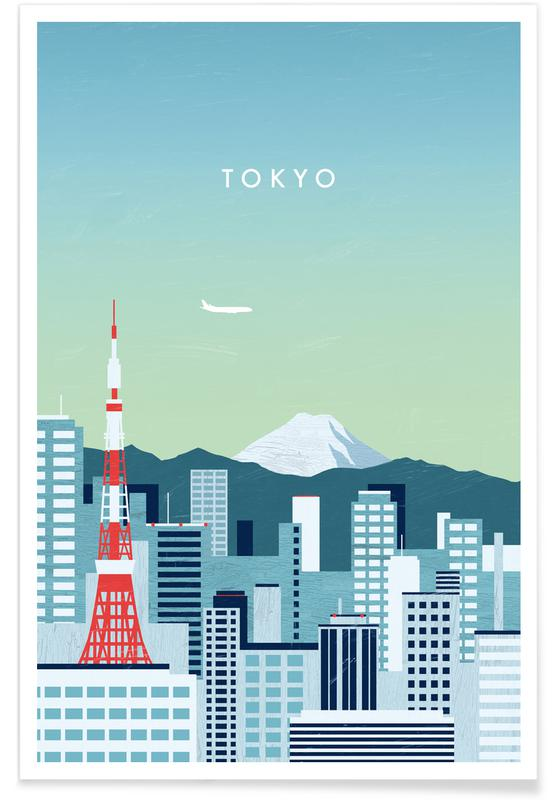 Reizen, Vintage reis, Retro Tokio poster