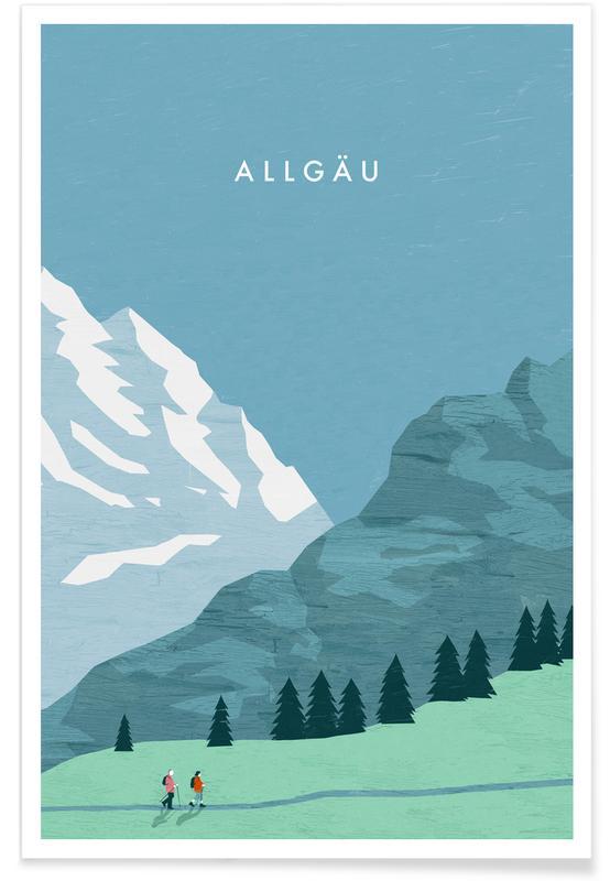Voyages, Vintage voyage, Allgäu - Rétro affiche