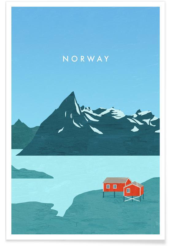 Rejser, Vintage rejser, Retro Norge Plakat