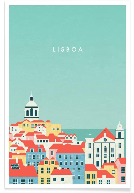 Vintage Reise, Retro Lissabon -Poster
