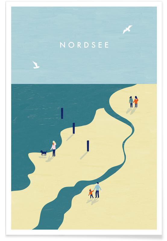 Voyages, Vintage voyage, Mer du nord - Rétro affiche