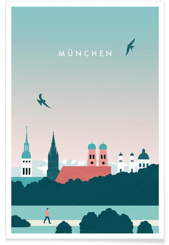Vintage reis, Reizen, München poster