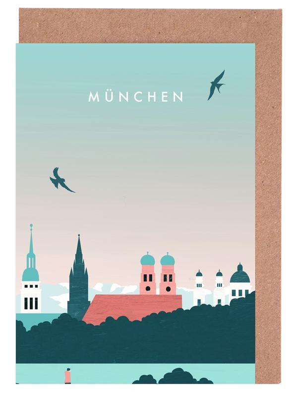 Vintage Reise, Reise, München -Grußkarten-Set