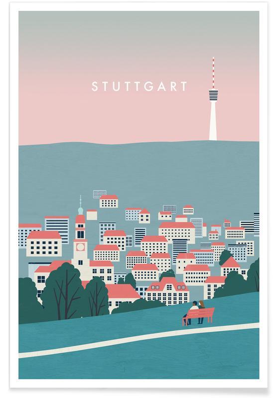 Vintage Reise, Reise, Stuttgart -Poster