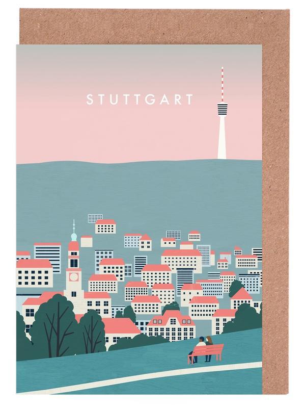 Vintage Reise, Reise, Stuttgart -Grußkarten-Set