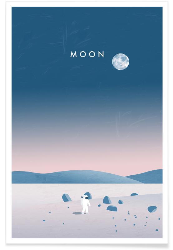 Vintage Travel, Travel, Moon Poster