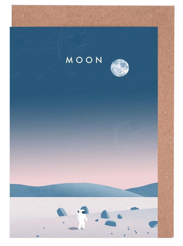 Vintage Reise, Reise, Moon -Grußkarten-Set