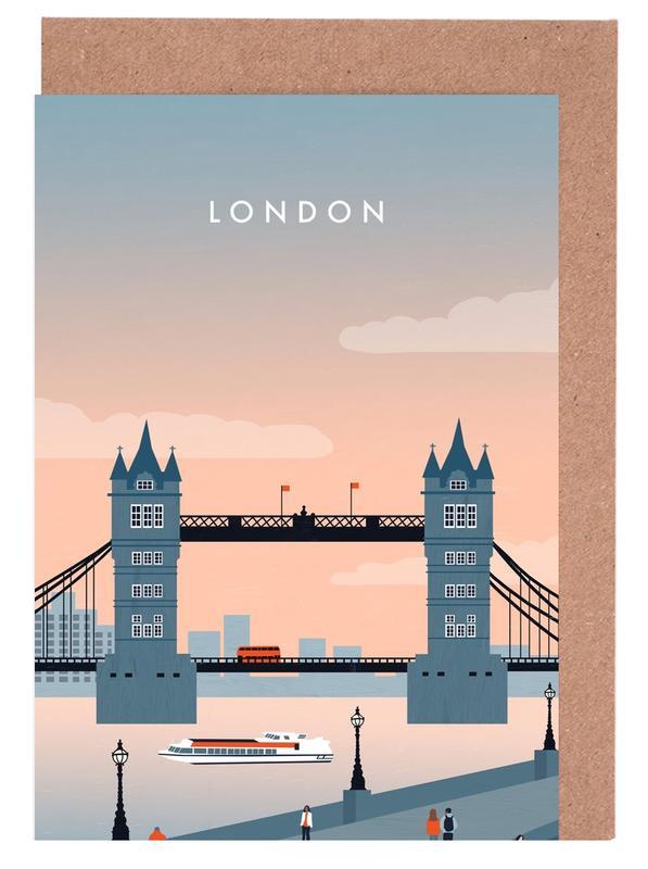 Vintage Reise, Reise, London -Grußkarten-Set