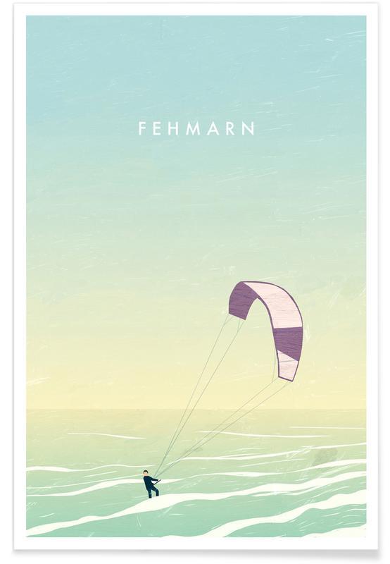 Reizen, Vintage reis, Fehmarn - retro poster
