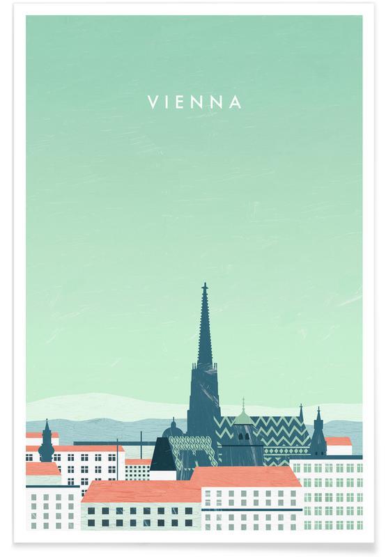 Reizen, Vintage reis, Wenen - retro poster