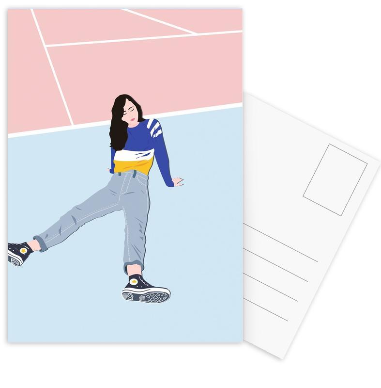 Modeillustration, Court -Postkartenset