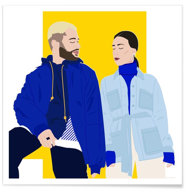 Couples, Fashion Illustrations, J'aime tout chez toi Poster