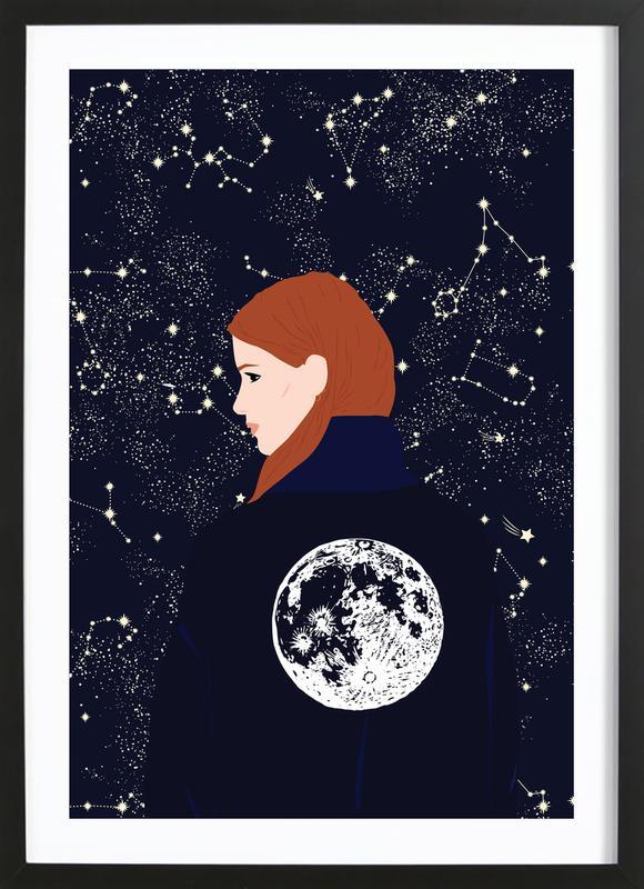 Back to the Moon -Bild mit Holzrahmen