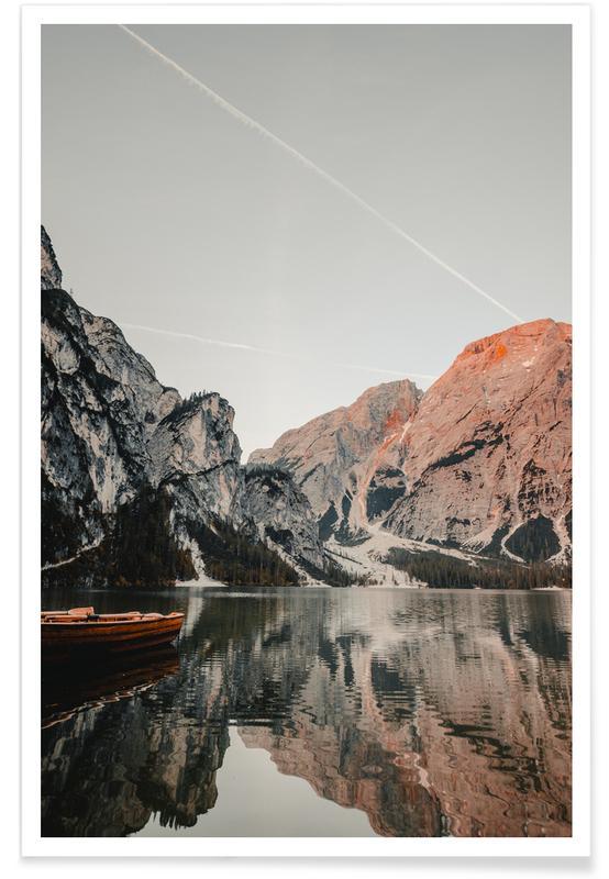 Bjerge, Solnedgange, Sø spejlbillede Plakat