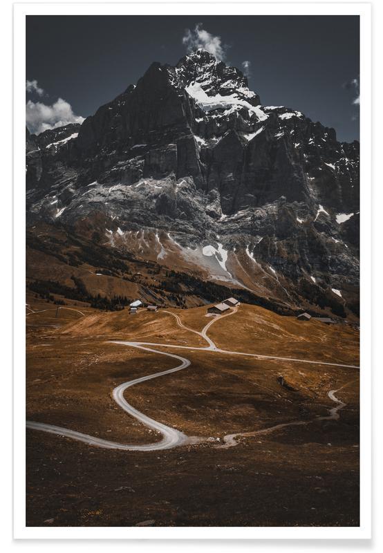 Montagnes, Route de montagne affiche
