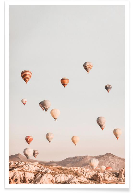 Ciels & nuages, Rêve, Couchers de soleil, Montgolfières affiche
