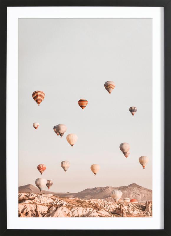 Hot Air Balloons affiche sous cadre en bois