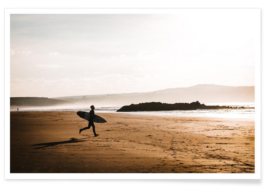 Plages, Surf, Evening Surf by @BeerSargent affiche
