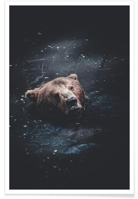 Bears, Grizzly Paddle @nilsleithold Poster