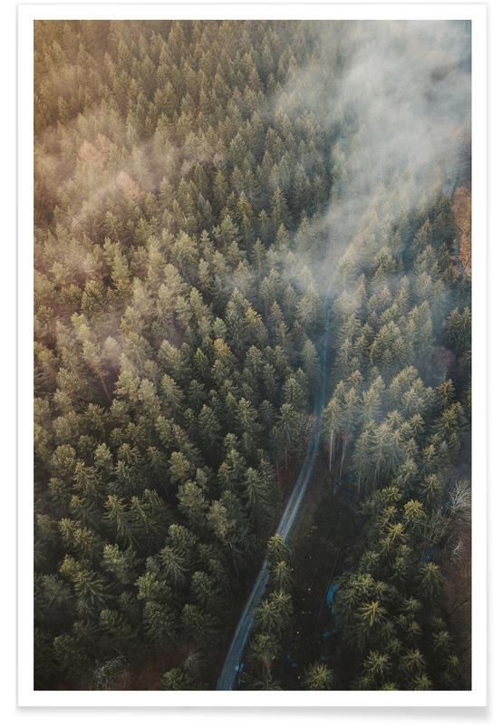 Forests, Sights & Landmarks, Misty Road by @bokehm0n Poster