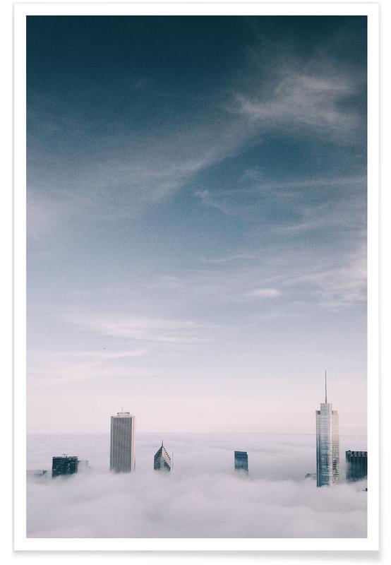 Wolkenkrabbers, Skylines, Lucht en wolken, Skyrise @cocu_liu poster