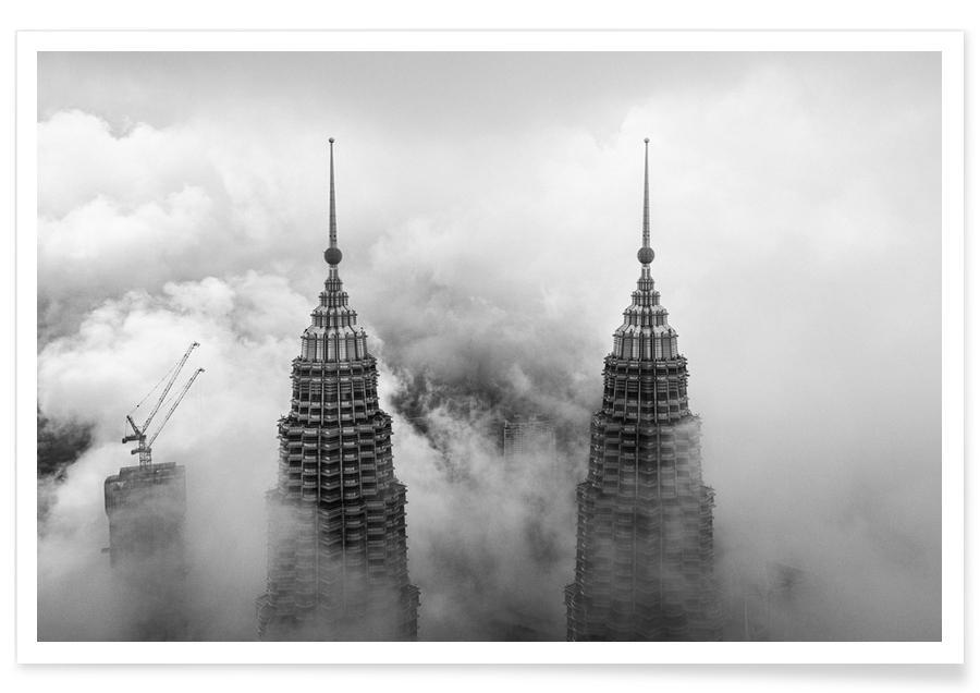 Gratte-ciels, Ciels & nuages, Noir & blanc, New York, Petronas affiche