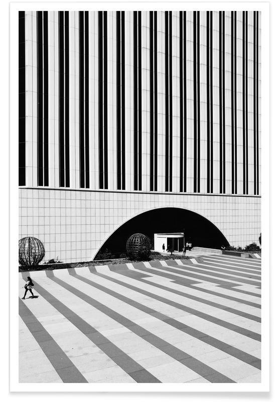 Noir & blanc, Détails architecturaux, Madrid, Azca, Madrid affiche