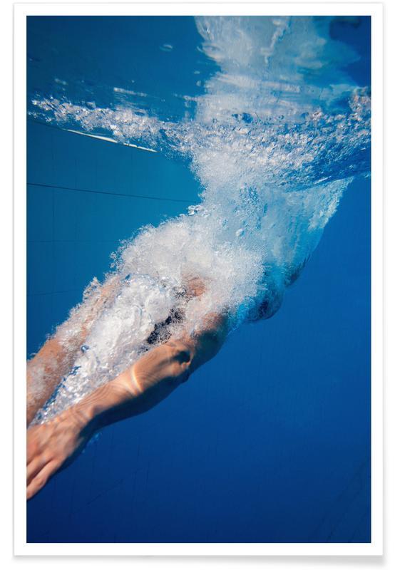 Swimming, Diving Beneath Poster