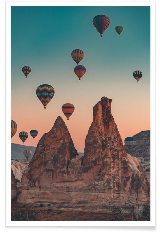 Mountains, Skies & Clouds, Travel, Hot Air Balloons & Hoodoos Poster