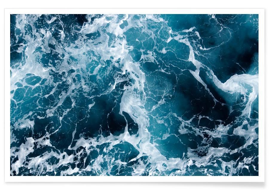 Photographie aérienne de la mer affiche
