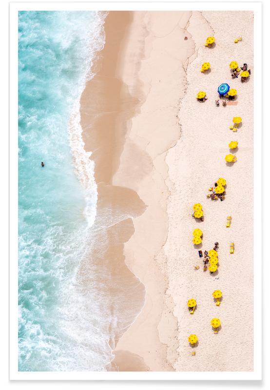 Photographie aérienne de plage affiche