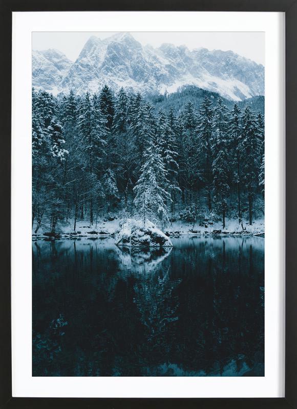 Snowy Peaks by @regnumsaturni -Bild mit Holzrahmen
