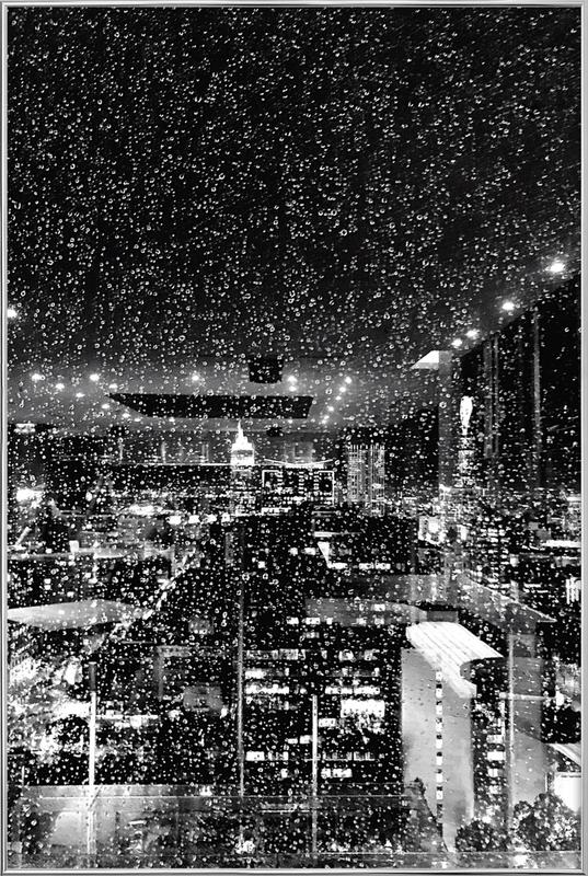 Rainy Megalopolis by @tungsxx Poster in Aluminium Frame